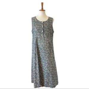 L.L Bean tunic midi linen dress size 10 p